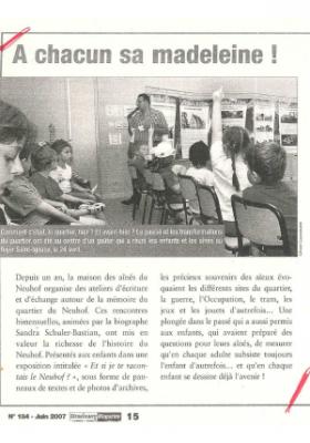 A chacun sa madeleine - Strasbourg Magazine - Juin 2007