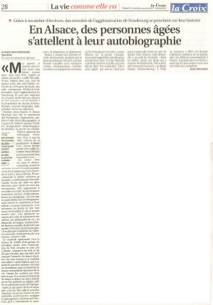 En Alsace des personnes âgées s'attellent à leur autobiographie - La Croix - 31 oct