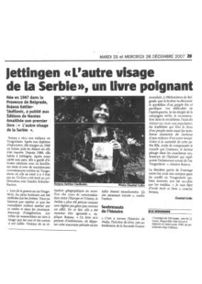 Jettingen L'autre visage de la Serbie, un livre poignant - DNA - Déc 2007