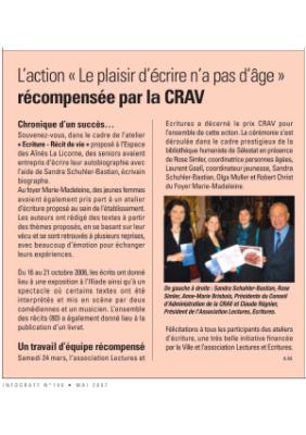 L'action Le plaisir d'écrire n'a pas d'âge récompensée par la CRAV - inforgraff - mai 2007