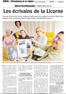 Les écrivains de la Licorne - DNA - Oct 2008